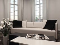 Living room interiow with bay window and couch Stock Images