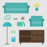 Living room isolated icons set. Living room elements on background. Stock Image