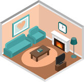 Living room isometric interior with fireplace and couch. Royalty Free Stock Photography