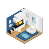 Living Room Isometric Interior With Fireplace Stock Image