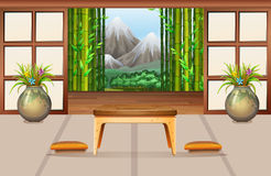 Living room in Japanese style. Illustration Stock Photos