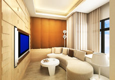 Living room / Karaoke room. Modern living room / Karaoke room design in 3D rendering stock illustration