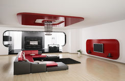 Living room, kitchen 3d render Stock Images