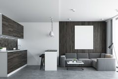 Living room and kitchen, concrete Stock Images