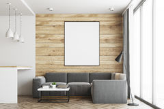 Living room and kitchen, wood close up. Living room in a studio apartment with wooden and white walls, wooden floor. Bar table with stools. Vertical poster Stock Photos
