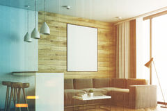 Living room and kitchen, wood side toned Royalty Free Stock Images