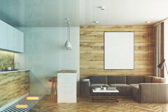 Living room and kitchen, wood toned Royalty Free Stock Photos