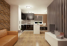 Living room with kitchenette Royalty Free Stock Images