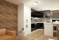 Living room with kitchenette Stock Photo