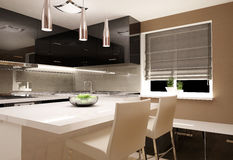 Living room with kitchenette Stock Photos