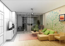 Living Room with Landscape View, 3D Interior stock photo
