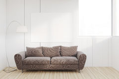 Living room with large sofa. Living room interior with a large brown sofa, a horizontal poster, a lamp and a window. 3d rendering, mock up Stock Photography