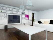 Living room with large television set Stock Images