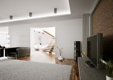 Living room with lcd interior 3d render Royalty Free Stock Photography