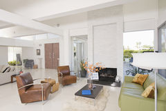 Living Room With Leather Furniture Stock Photos