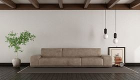 Living room with leather sofa. On withe wall - 3d rendering Royalty Free Stock Image