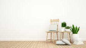 Living room or library room and indoor garden - 3D Rendering. For artwork Royalty Free Stock Photo