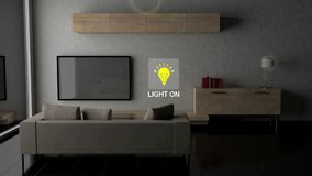 Living room light energy saving efficiency control, Smart home appliances, internet of things. vector illustration