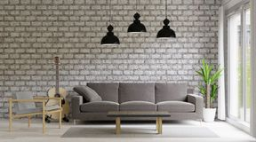 3d rendering Living Room loft and industrial style, brick wall ,big room royalty free illustration