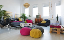 Living room in loft Royalty Free Stock Images