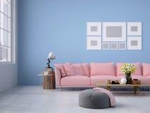 living room loft interior. 3d rendering Royalty Free Stock Photos