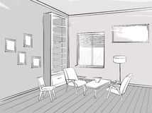 Living room lounge interior sketch Place for reading with armchair. Sketch of interior. Beautiful room. Living room furniture blueprint with chairs, sofa vector illustration