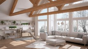 Living room of luxury eco house, parquet floor and wooden roof t. Russes, panoramic window on winter meadow, modern white interior design royalty free illustration