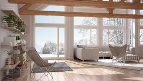 Living room of luxury eco house, parquet floor and wooden roof t. Russes, panoramic window on winter meadow, modern white interior design stock illustration
