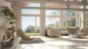 Living room of luxury eco house, parquet floor and wooden roof t. Russes, panoramic window on summer spring meadow, modern white interior design stock illustration