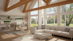 Living room of luxury eco house, parquet floor and wooden roof t. Russes, panoramic window on summer spring meadow, modern white interior design royalty free illustration