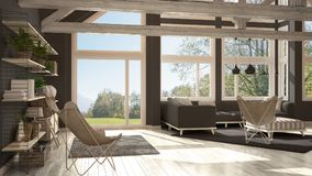 Living room of luxury eco house, parquet floor and wooden roof t. Russes, panoramic window on summer spring meadow, modern white and gray interior design royalty free illustration