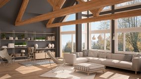 Living room of luxury eco house, parquet floor and wooden roof t. Russes, panoramic window on autumn meadow, modern white and gray interior design royalty free illustration
