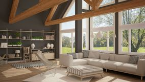 Living room of luxury eco house, parquet floor and wooden roof t. Russes, panoramic window on summer spring meadow, modern white and gray interior design vector illustration