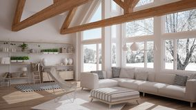 Living room of luxury eco house, parquet floor and wooden roof t. Russes, panoramic window on winter meadow, modern white interior design vector illustration