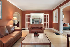 Living room in luxury home stock images