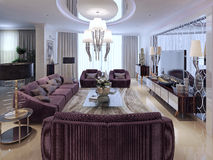 Living room luxury style. Living room in luxury style. 3d visualization royalty free illustration