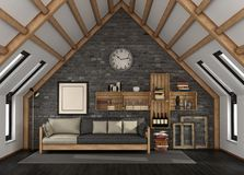 Living room in the mansard. With sofa and bookcase in rustic style - 3d rendering vector illustration