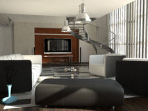 Living room with metal spiral staircase Stock Photo