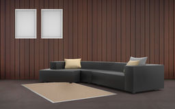 Living room Minimal Black Sofa Desing and two picture frame Stock Image