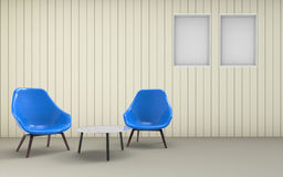 Living room Minimal Clean Desing Chair And Wall Stock Photo