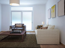 Living room minimalism style. 3d render Royalty Free Stock Photo
