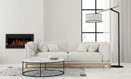 Living room with minimalist fireplace. 3D illustration. Modern white living room with minimalist fireplace Stock Photo