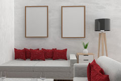 Living room with mock up interior modern in the concrete room in 3D render image royalty free illustration