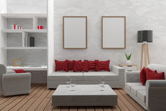 Living room with mock up interior modern in 3D render image stock illustration