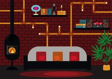 Living room with modern chimney. Industrial design of the modern living roomwith brickwall, pipes and lightbulb Stock Image