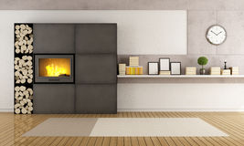 Living room with modern fireplace. Minimalist iron fireplace in a contemporary living room - rendering Stock Image