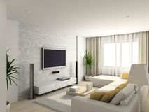 Living-room with the modern furniture stock illustration