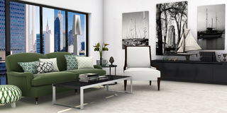 Living-room. A modern interior  living room with citybackground Stock Photos