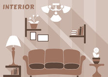 Living room modern interior design in flat style Stock Image