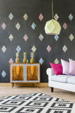 Living room with modern lamp Royalty Free Stock Photos